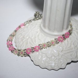 Beautiful silver and pink flower bracelet 8""